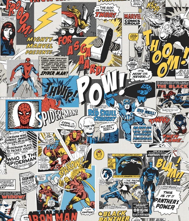 Marvel Comics Pow! Wallpaper - Black, Blue, Red