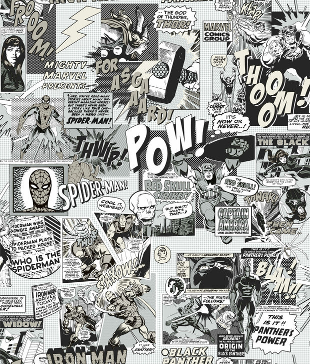 Marvel Comics Pow! Wallpaper - Black & White
