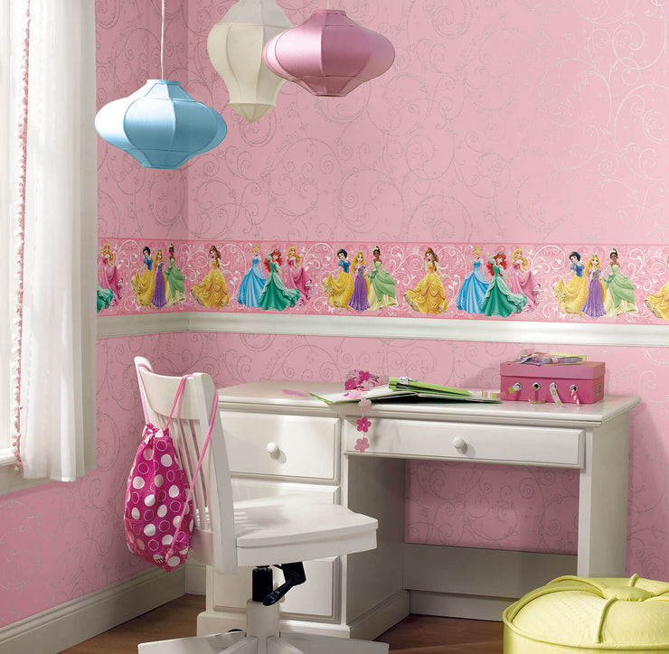 DK5967 Disney Kids Perfect Princess Scroll Wallpaper Pink