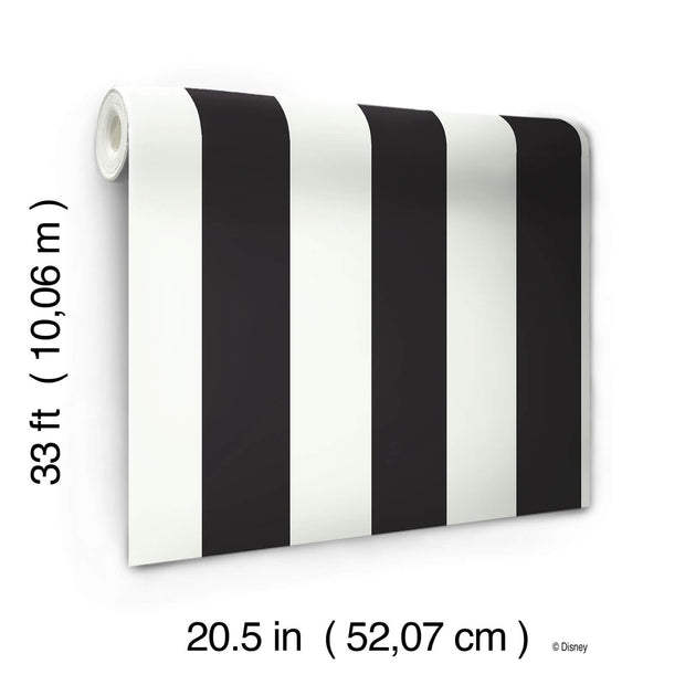 Disney Kids Silk Black and White Stripes Wallpaper
