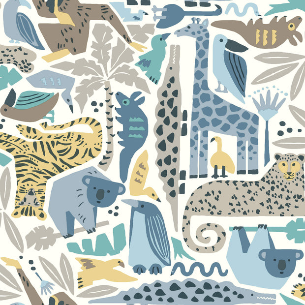 DW2300 DwellStudio Baby & Kids Jungle Puzzle Wallpaper Blue Brown Yellow