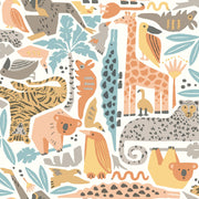 DW2301 DwellStudio Baby & Kids Jungle Puzzle Wallpaper Orange Yellow Brown