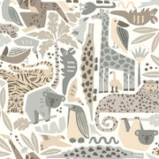 DW2302 DwellStudio Baby & Kids Jungle Puzzle Wallpaper Brown Gray
