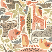 DW2303 DwellStudio Baby & Kids Jungle Puzzle Wallpaper Orange Brown Green