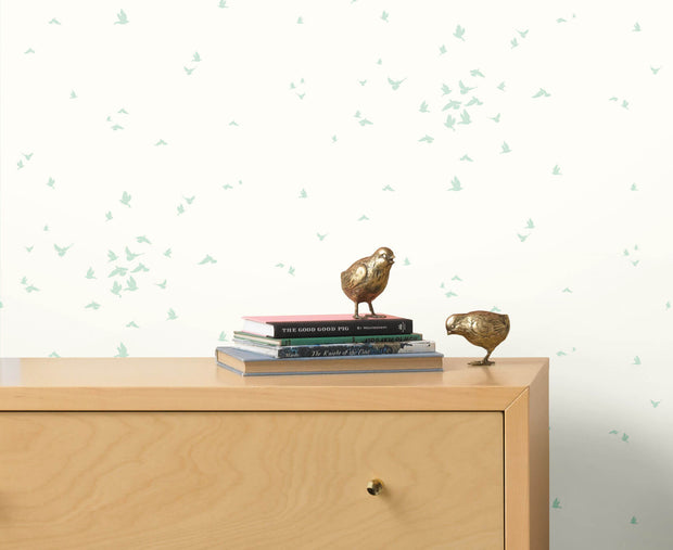 DW2331 DwellStudio Baby & Kids Fable Bird Wallpaper Blue White