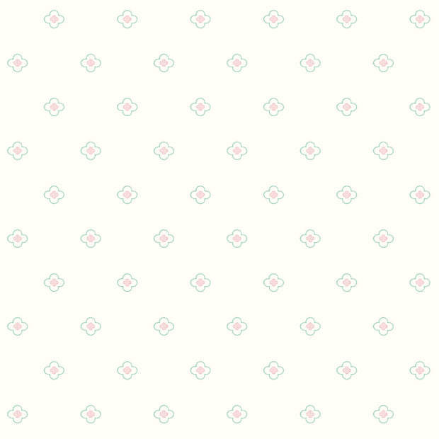 DW2391 DwellStudio Baby & Kids Quatrefoil Wallpaper Pink Blue
