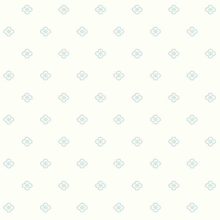 DW2392 DwellStudio Baby & Kids Quatrefoil Wallpaper Blue Green