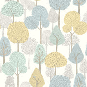 DW2402 DwellStudio Baby & Kids Treetops Wallpaper Blue Yellow Green