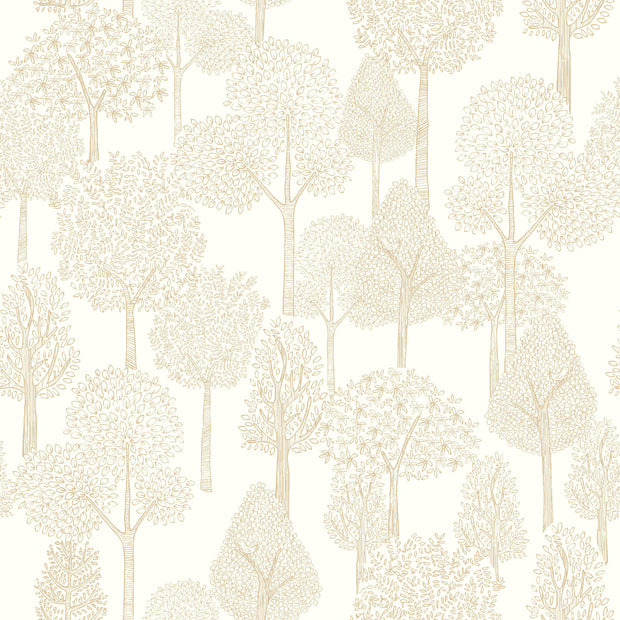 DW2405 DwellStudio Baby & Kids Treetops Wallpaper Beige White