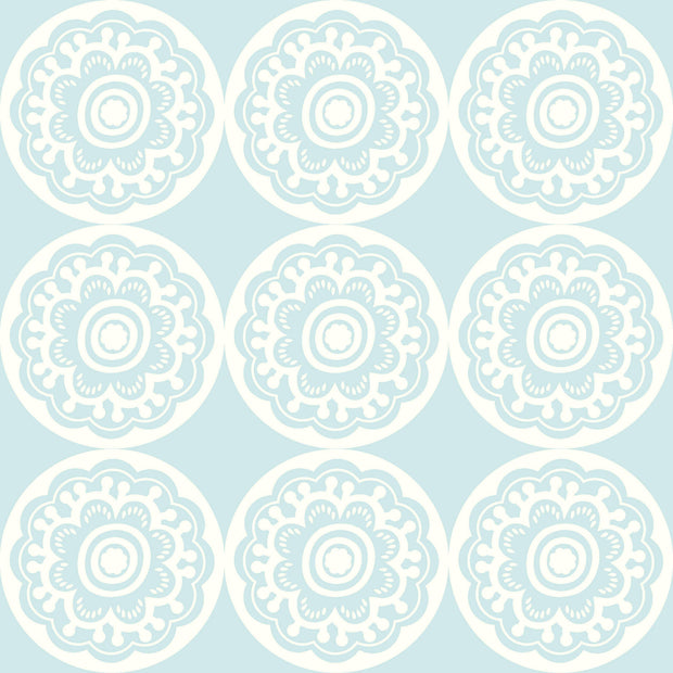 DW2412 DwellStudio Baby & Kids Zinnia Wallpaper Blue White