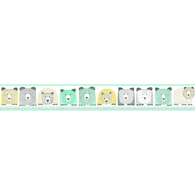 DwellStudio Baby & Kids Bears Wallpaper Border - Black/Yellow/Blue