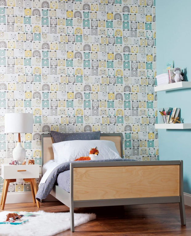 DwellStudio Baby & Kids Bears Wallpaper - Blue/Yellow/Black