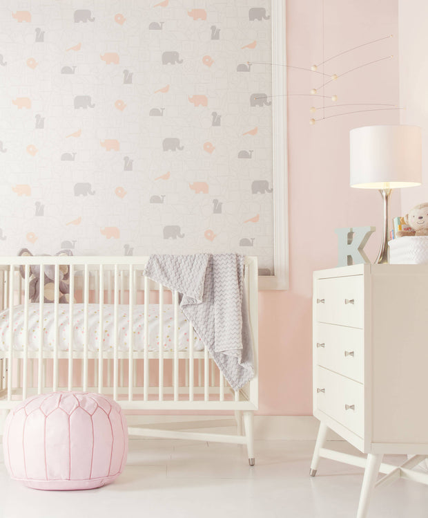 DW2441 DwellStudio Baby & Kids Animal Blocks Wallpaper Gray Pink
