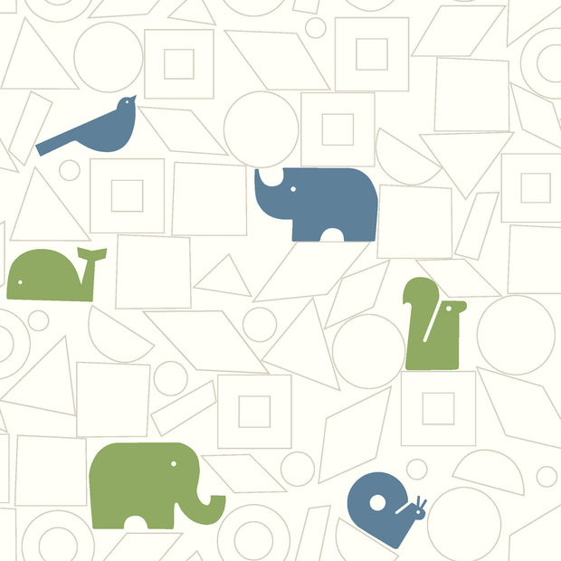 DW2442 DwellStudio Baby & Kids Animal Blocks Wallpaper Green Blue