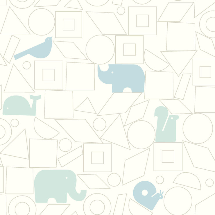 DW2443 DwellStudio Baby & Kids Animal Blocks Wallpaper Blue White