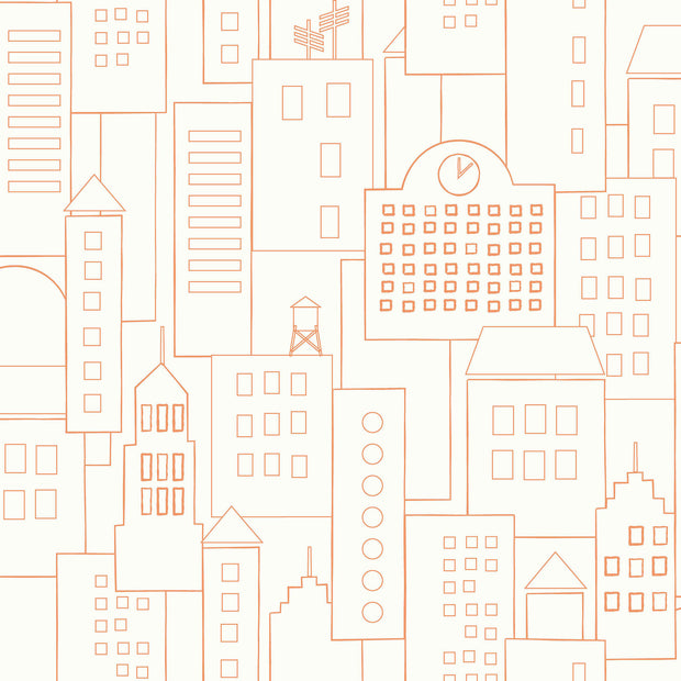 DwellStudio Baby & Kids Skyline Wallpaper - Orange/White