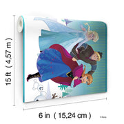 DY0136BD Disney Kids III Frozen Movie Characters Wall Border Teal
