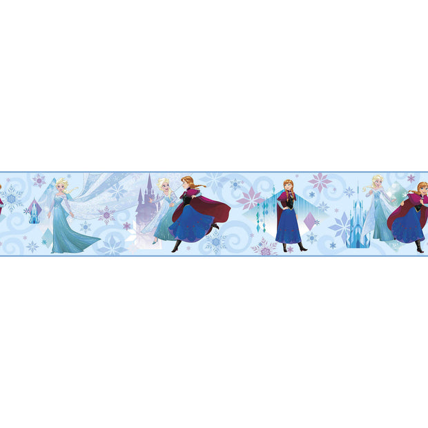 DY0142BD Disney Kids III Frozen Movie Sisters Wall Border Blue
