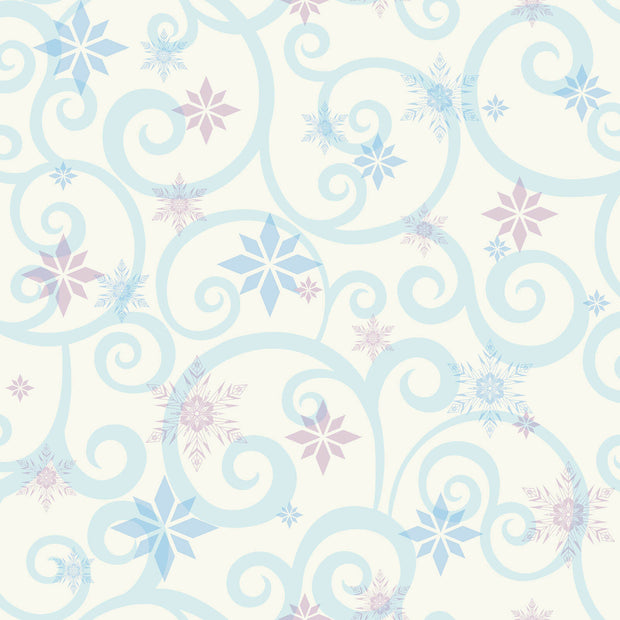 DY0155 Disney Kids Frozen Snowflake Scroll Wallpaper Violet Blue