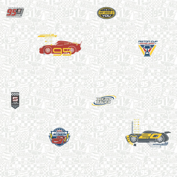 DY0190 Disney Kids III Pixar Cars 3 Racing Wallpaper Red Gray White