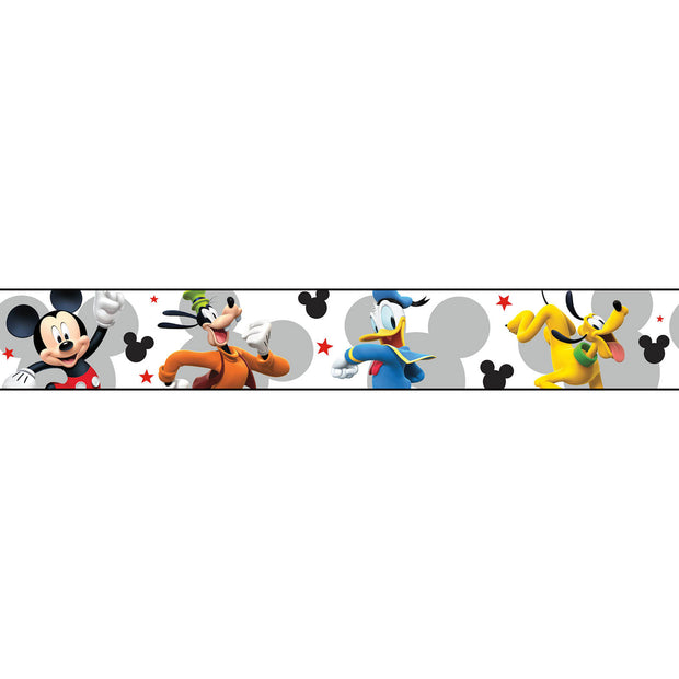 DY0202BD Disney Kids III Mickey Mouse and Friends Wall Border gray
