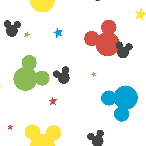 DY0208 Disney Kids Mickey Mouse Heads Wallpaper Red Blue Green Yellow White