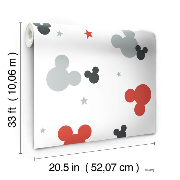 DY0209 Disney Kids Mickey Mouse Heads Wallpaper Gray Red Black White