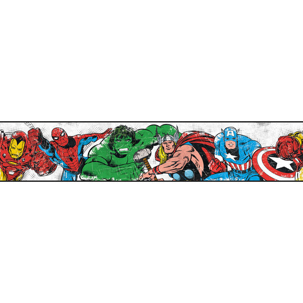 DY0238BD Disney Kids III Marvel Avengers Characters Wall Border white
