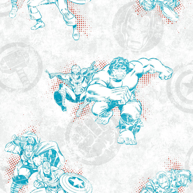 DY0244 Disney Kids Marvel Avengers Wallpaper White Blue