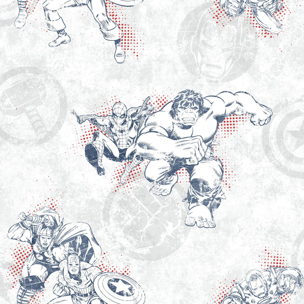 DY0246 Disney Kids Marvel Avengers Wallpaper White Navy Red