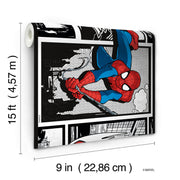 DY0250BD Disney Kids III Marvel Ultimate Spiderman Comic Wall Border white