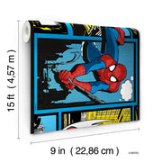 DY0251BD Disney Kids III Marvel Ultimate Spiderman Comic Wall Border Blue