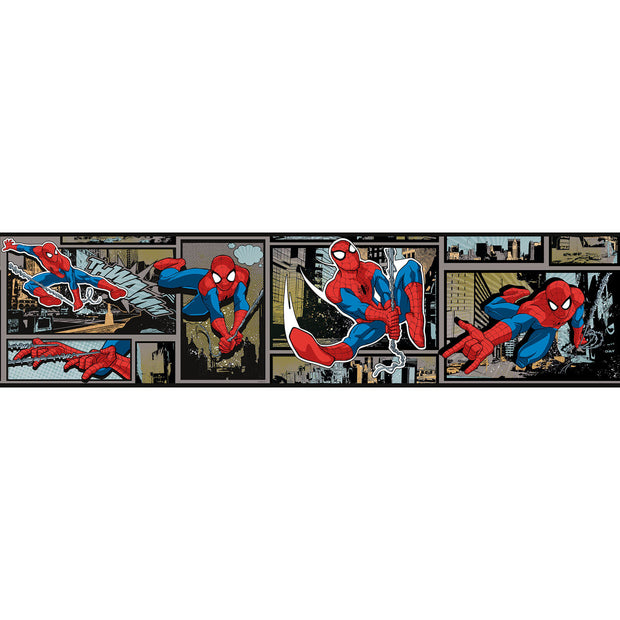 DY0252BD Disney Kids III Marvel Ultimate Spiderman Comic Wall Border Silver