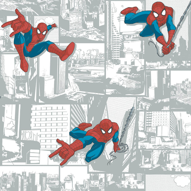 DY0256 Disney Kids Marvel Ultimate Spiderman Comic Wallpaper Silver