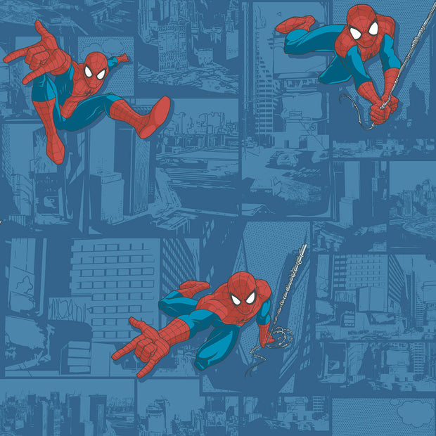 DY0257 Disney Kids Marvel Ultimate Spiderman Comic Wallpaper Blue