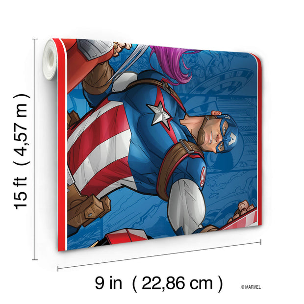 DY0263BD Disney Kids III Marvel Avengers Characters Wall Border Blue