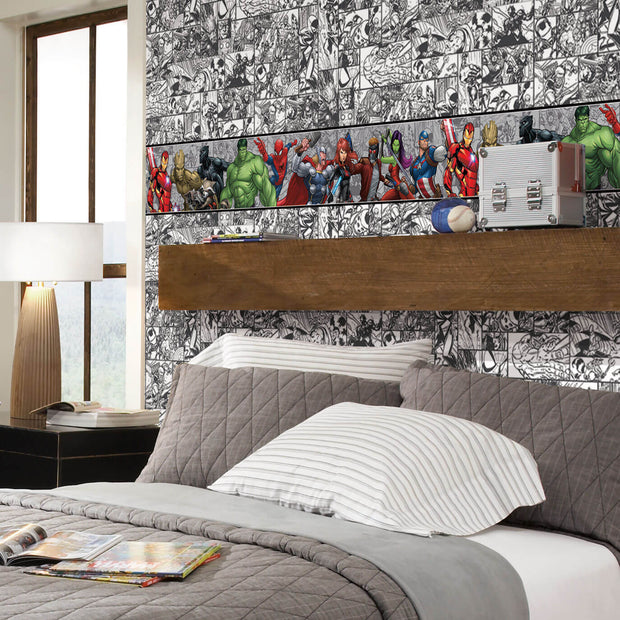 DY0262BD Disney Kids III Marvel Avengers Characters Wall Border white