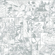 DY0269 Disney Kids Marvel Comic Strip Wallpaper White Silver