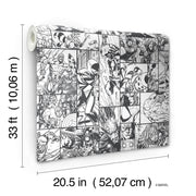 DY0270 Disney Kids Marvel Comic Strip Wallpaper White Black