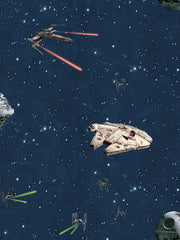 DY0299 Disney Kids Star Wars Classic Ships Wallpaper Blue
