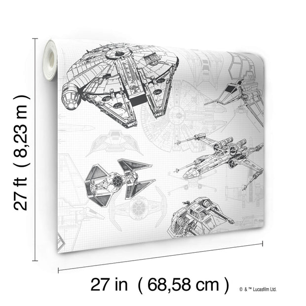 DY0304 Disney Kids Star Wars Ship Schematic Wallpaper White Black