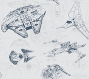 DY0306 Disney Kids Star Wars Ship Schematic Wallpaper Gray