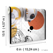 DY0311BD Disney Kids Star Wars BB8 Wall Border White Orange