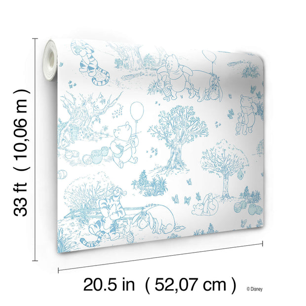 Disney Kids III Pooh & Friends Toile Blue Wallpaper