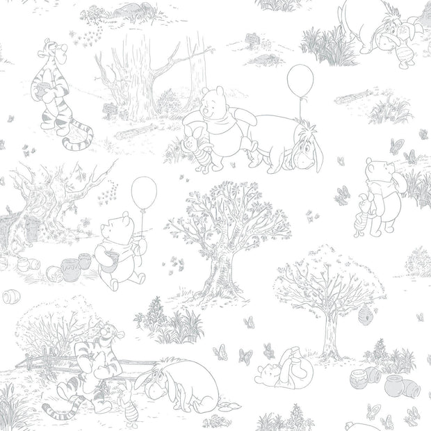 Disney Kids III Pooh & Friends Toile Wallpaper - SAMPLE SWATCH ONLY