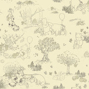 Disney Kids III Winnie Pooh Toile Wallpaper Beige