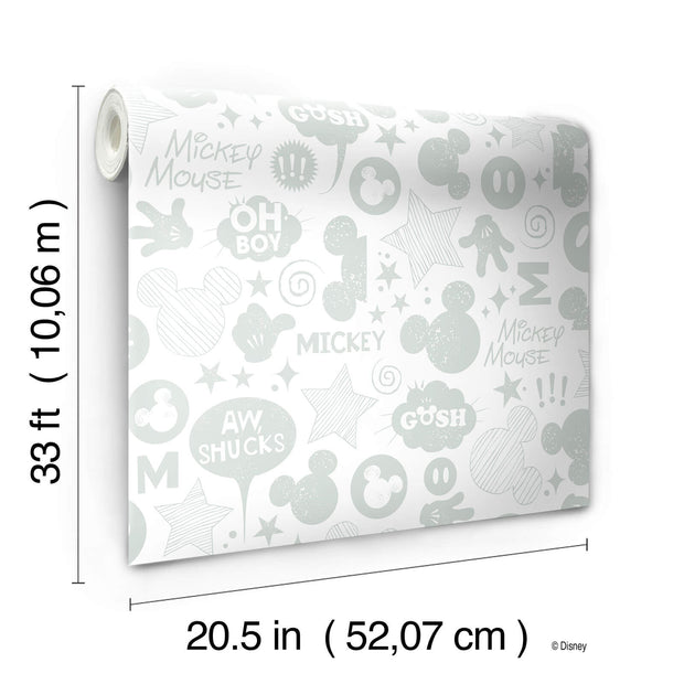 Disney Mickey Mouse Animated Tonal Wallpaper - White/Silver