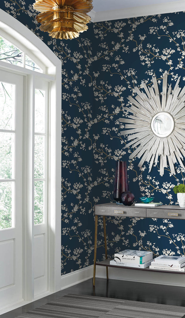 Florence Broadhurst Branches Wallpaper - Navy Blue