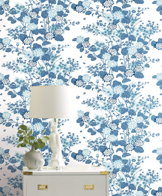 Florence Broadhurst Chinese Floral Wallpaper - White, Blue