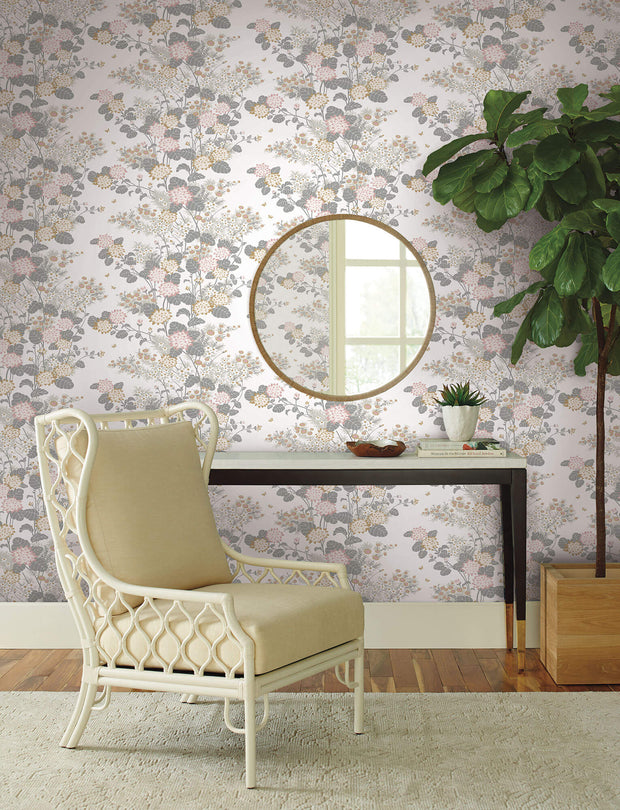 Florence Broadhurst Chinese Floral Wallpaper - White/Blush